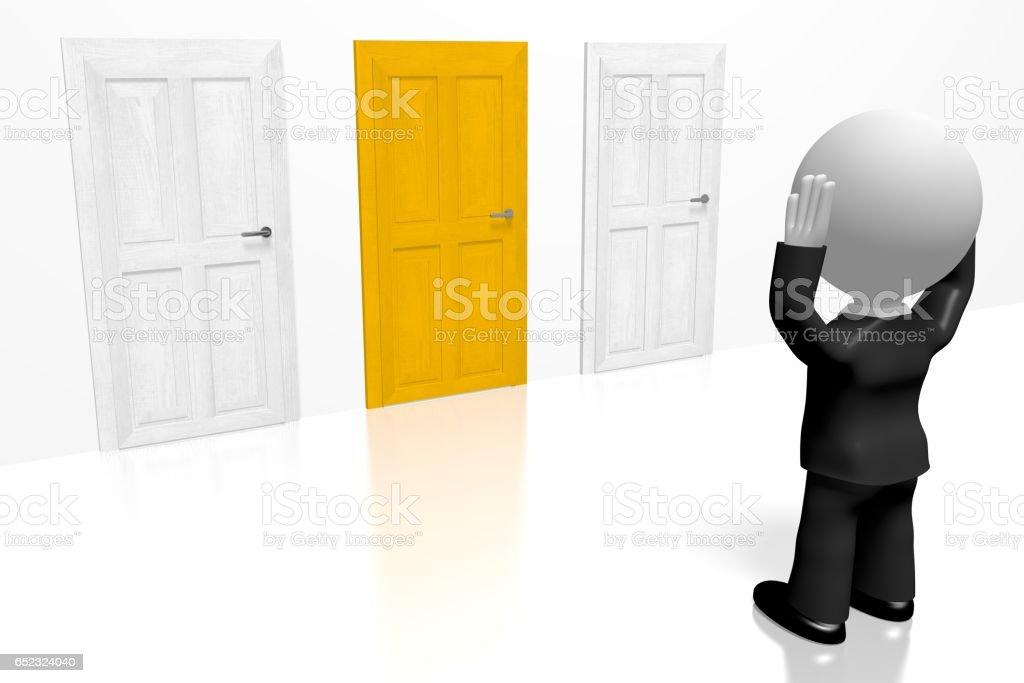 3D choice concept, businessman vector art illustration