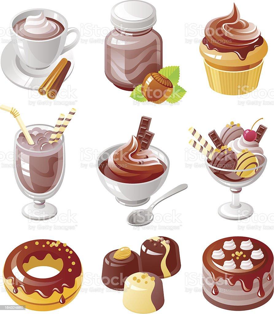 Chokolate Icon Set vector art illustration