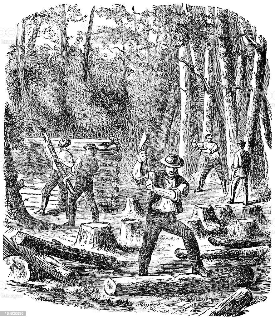 Chopping Wood vector art illustration