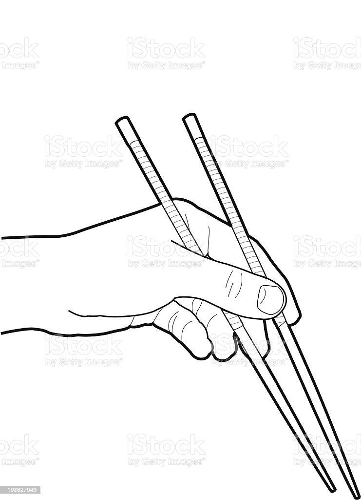 Chopsticks vector art illustration