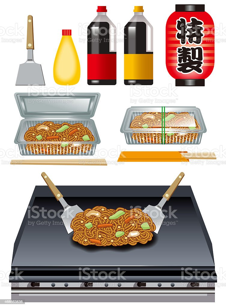Chow mein cooking tools. vector art illustration