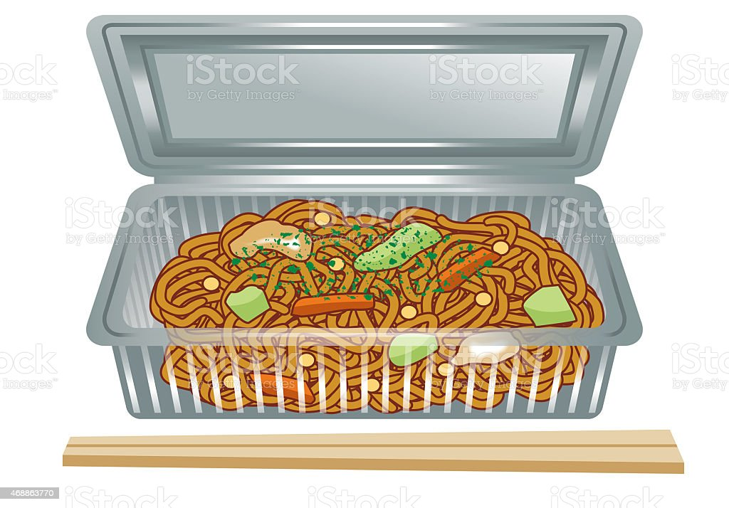 Chow mein. vector art illustration