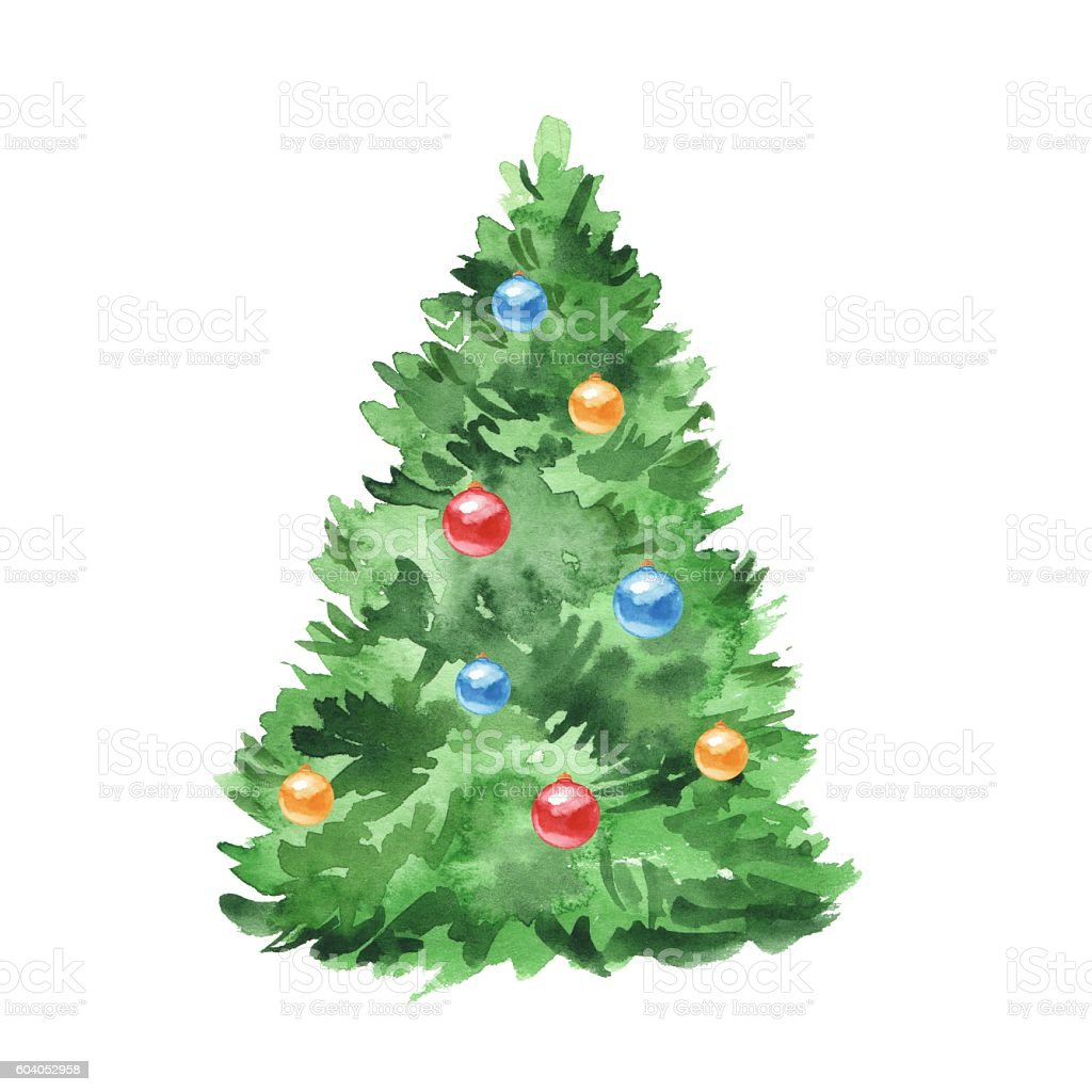 Chrismas tree and balls. Winter background. Watercolor painting vector art illustration