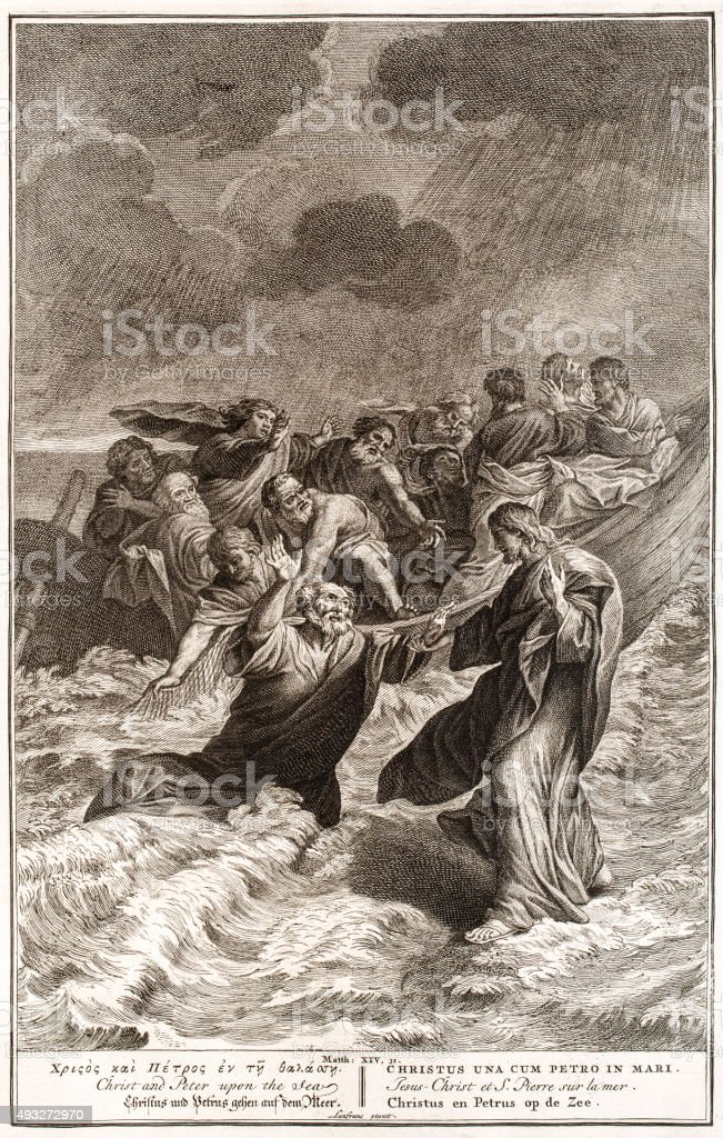 Christ and Peter upon the Sea, 18th century Bible vector art illustration