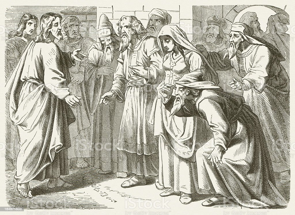 Christ and the adulteress (John 8), wood engraving, published 1877 royalty-free stock vector art