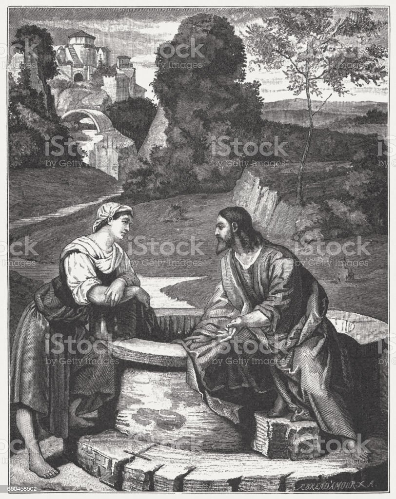 Christ and the Samaritan Woman, painted (c.1520) by Alessandro Moretto vector art illustration