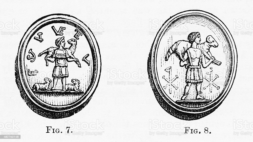 Christ as the Good Shepherd Christian Symbolism Engraving stock photo