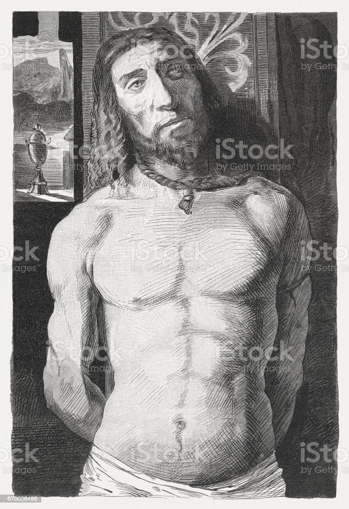 Christ at the Column, painted (c.1490) by Donato Bramante, Milan vector art illustration