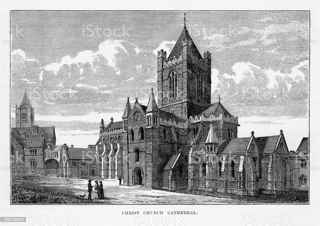 Christ Church Cathedral in Dublin, Ireland Victorian Engraving, 1840 vector art illustration