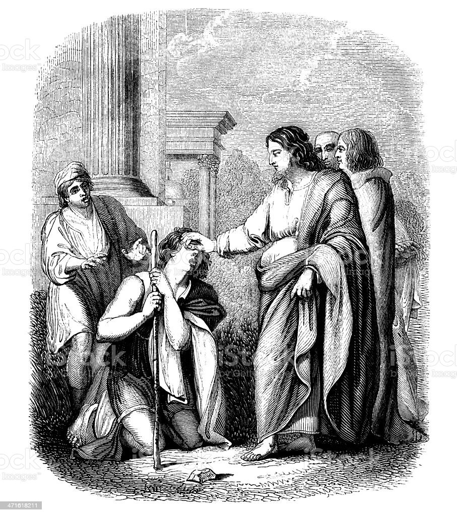 Christ curing the blind. royalty-free stock vector art