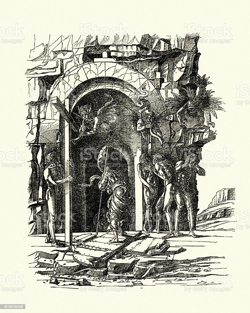 Christ descending into Hell by Andrea Mantegn vector art illustration