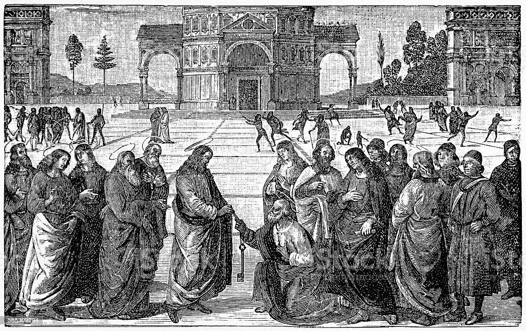 Christ Giving the Keys of the Kingdom to St. Peter vector art illustration