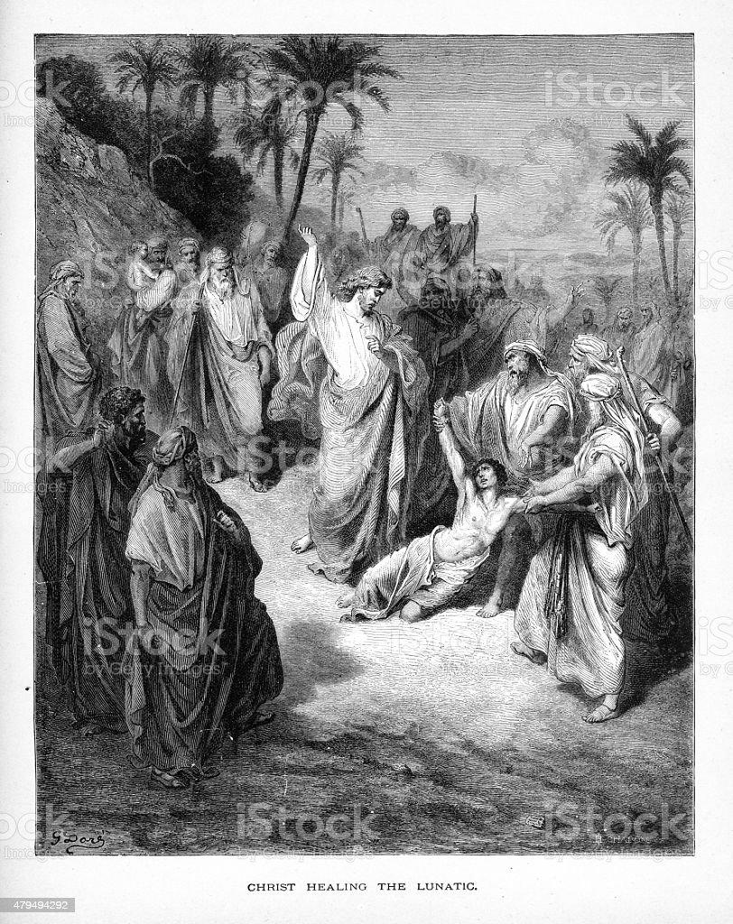 Christ Healing the Lunatic Biblical Engraving vector art illustration