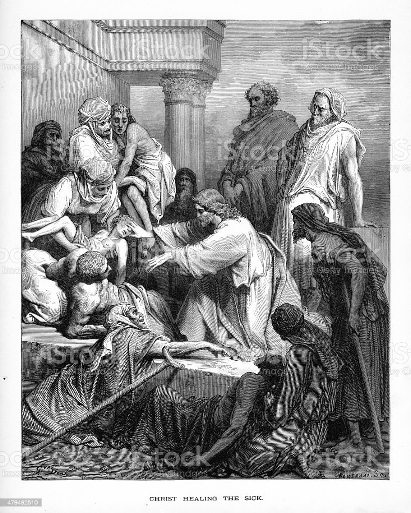 Christ Healing the Sick and Affirmed Biblical Engraving vector art illustration