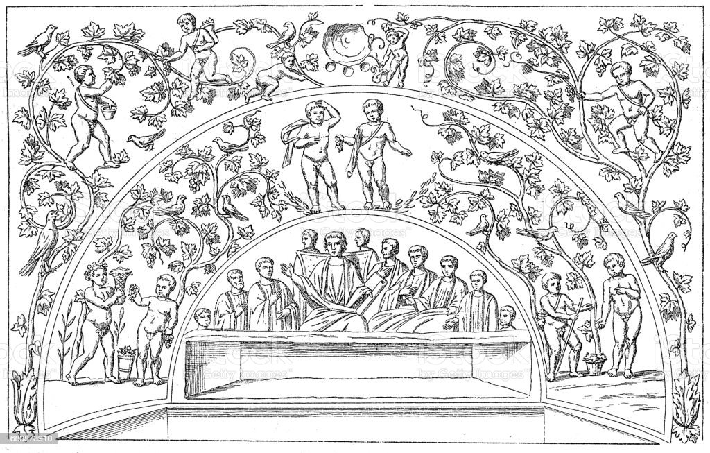Christ teaching surrounded by the Apostles vector art illustration