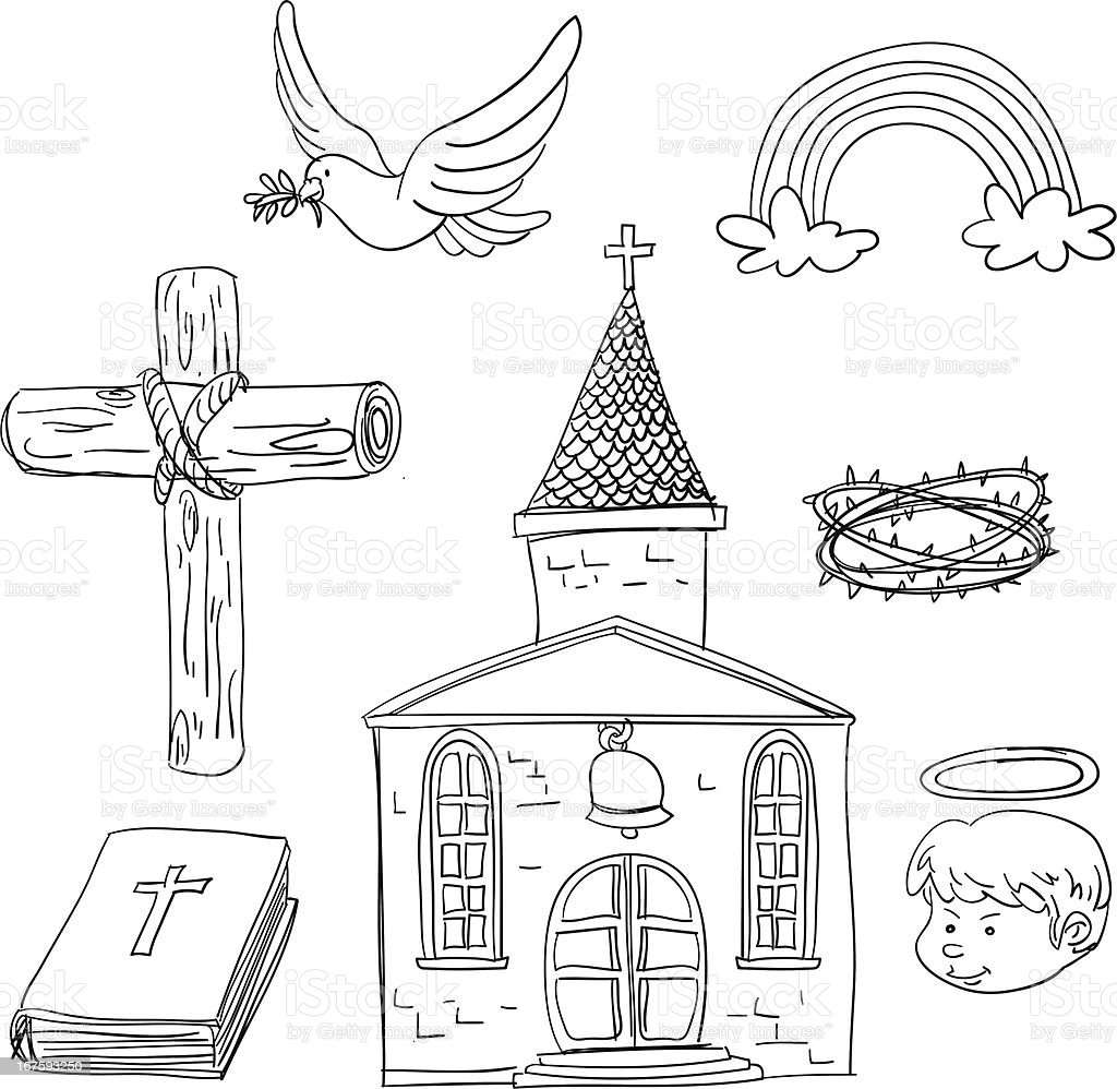 Christian elements in black and white royalty-free stock vector art