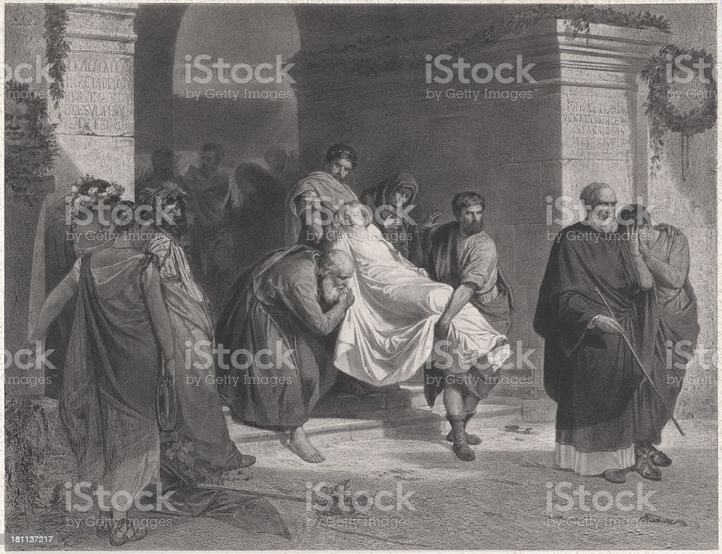 Christian martyrs in ancient Rome by Diocletian, lithograph, published 1852 royalty-free stock vector art