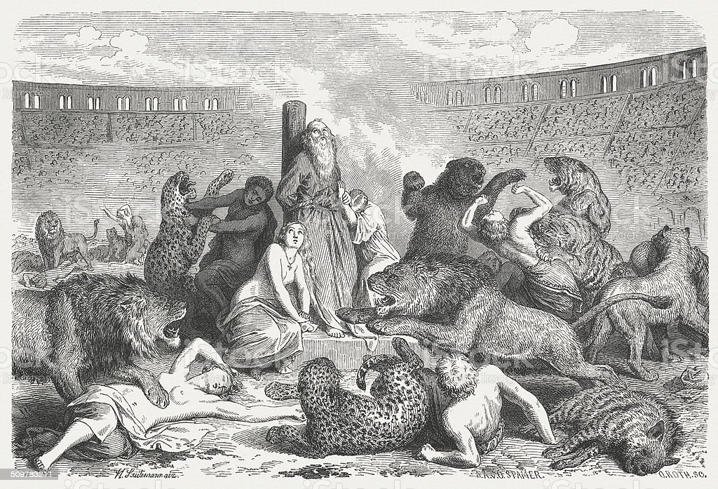 Christian martyrs in ancient Rome, wood engraving, published 1864 vector art illustration