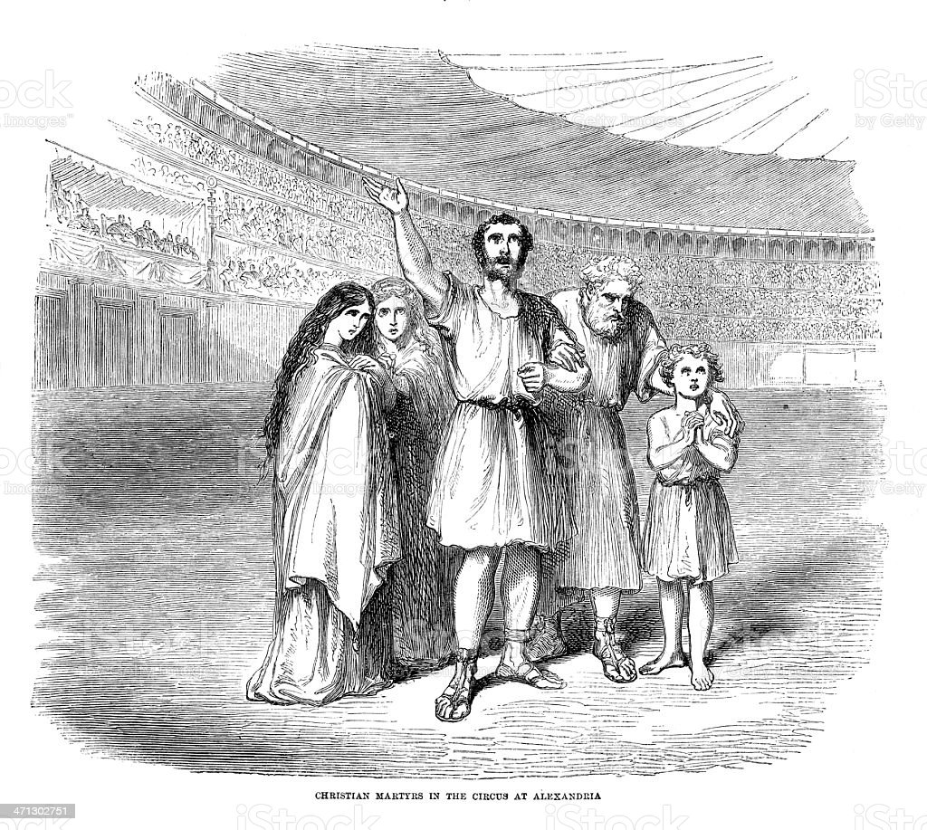 christian martyrs in circus roman city of alexandria old print