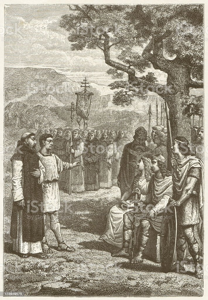 Christian missionaries in England in 5th century, published in 1881 royalty-free stock vector art