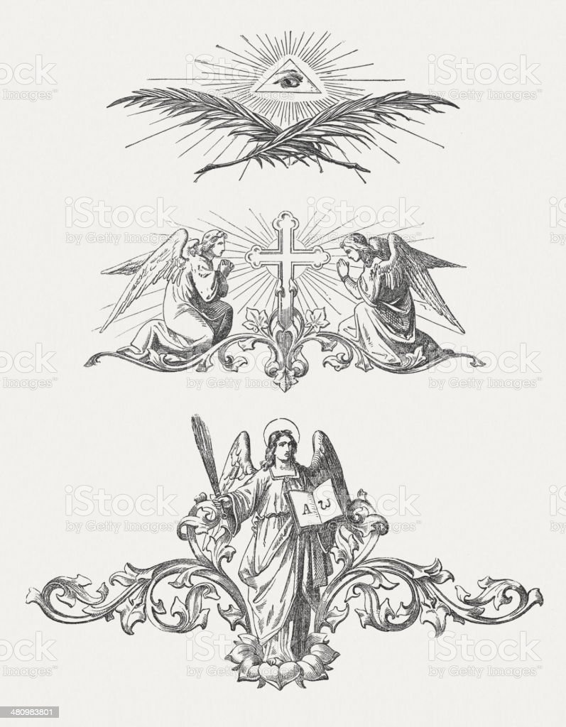 Christian vignettes, wood engravings, published c. 1880. royalty-free stock vector art