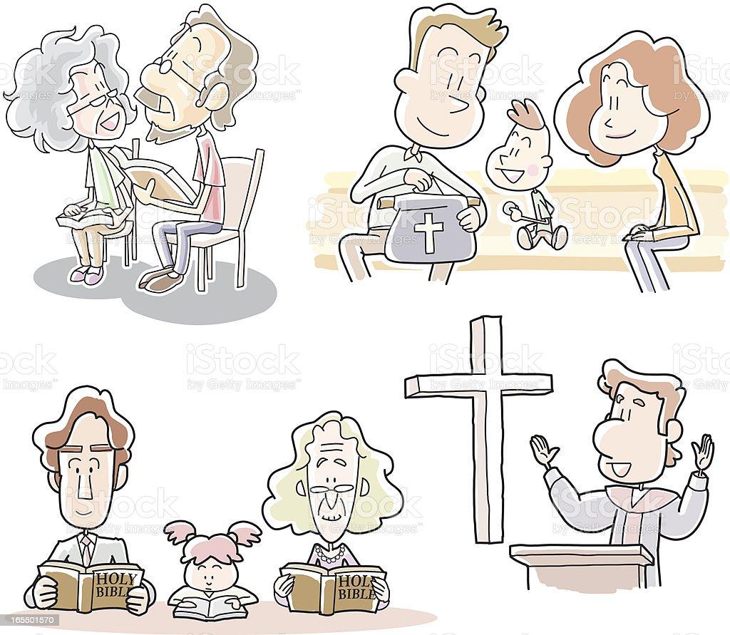 Christians' activities at church vector art illustration