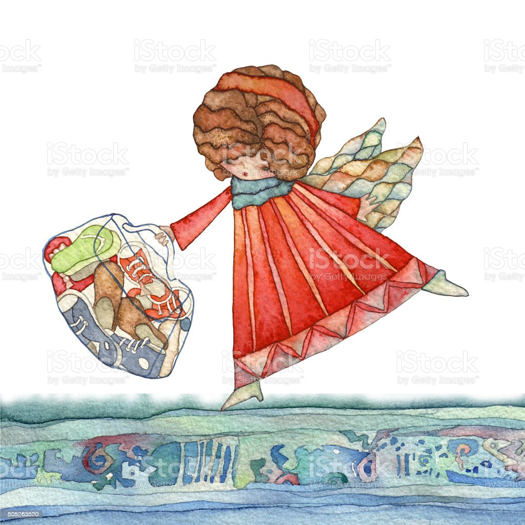 Christmas angel vector art illustration