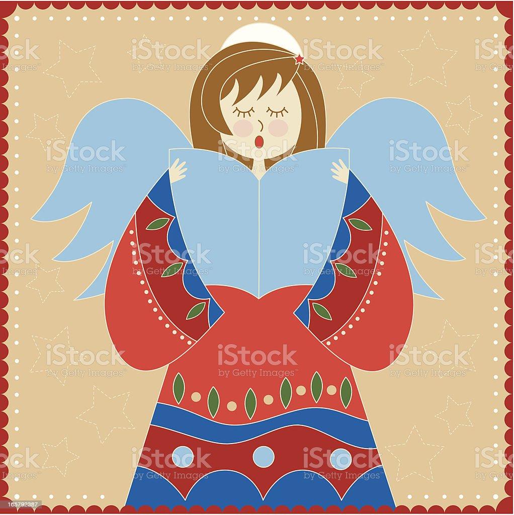 Christmas angel singing vector art illustration