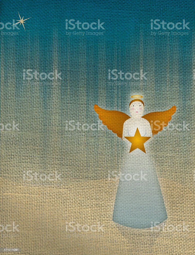 Christmas Angel with Star on Burlap Background royalty-free stock vector art