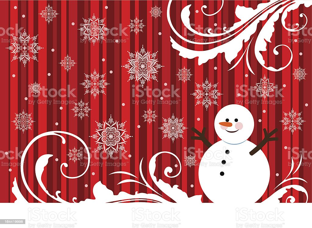 Christmas background with snowman vector art illustration