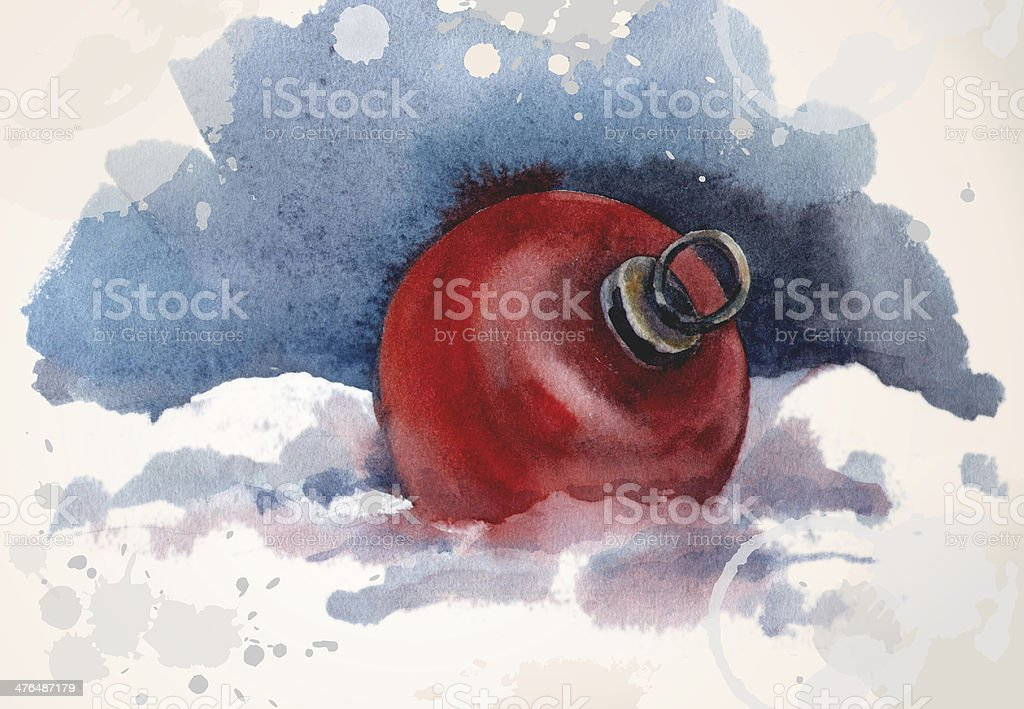 Christmas ball on the snow. royalty-free stock vector art
