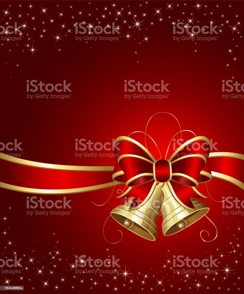 Christmas bells with red ribbon royalty-free stock vector art