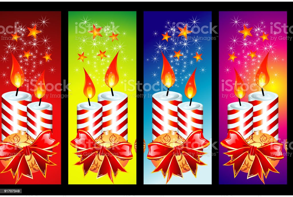 Christmas Candles banners royalty-free stock vector art