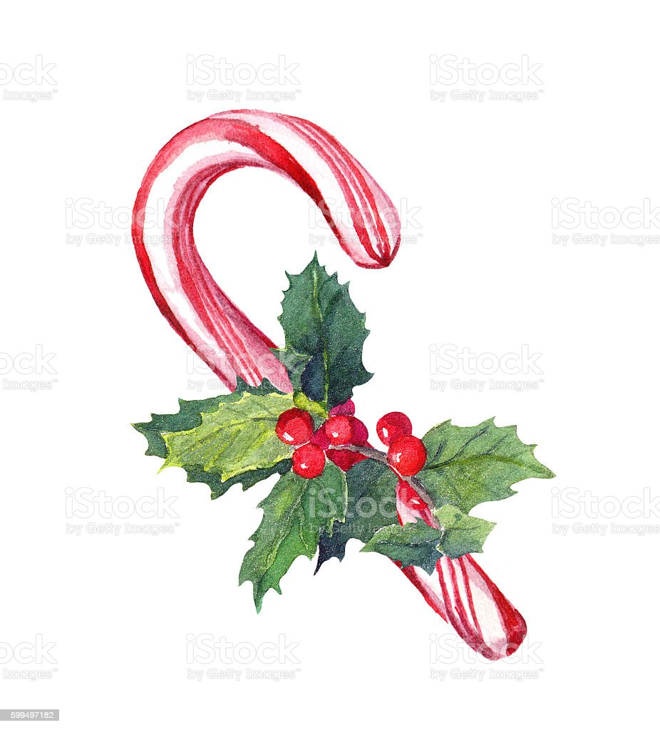Christmas candy cane with mistletoe. Watercolor vector art illustration