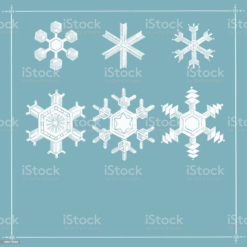 Christmas card background: Snowflakes on blue with copy-space vector art illustration