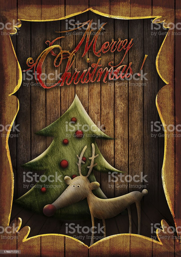 Christmas card - Rudolph with tree in wooden frame royalty-free stock vector art