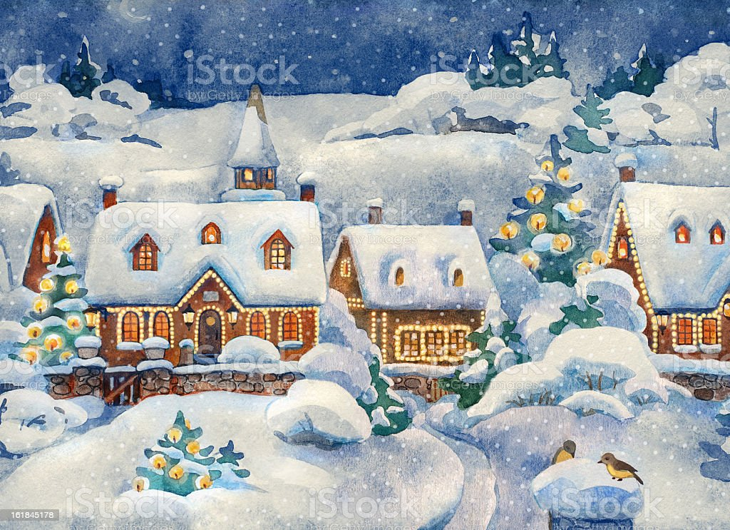 A Christmas card that shows a winter village vector art illustration