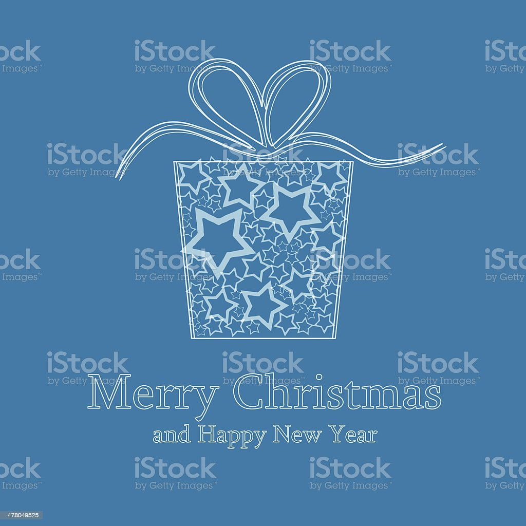 Christmas card with gift box made of stars vector art illustration