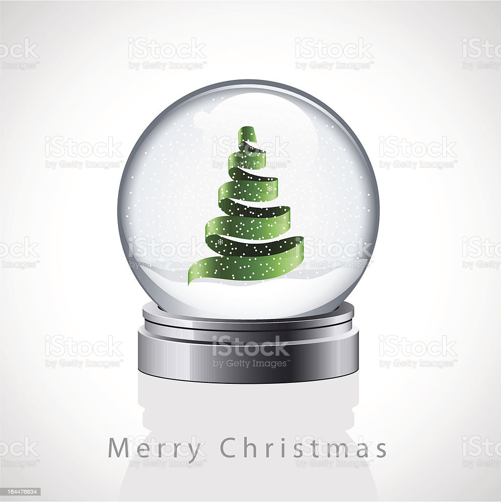 Christmas card with glass snow globe royalty-free stock vector art