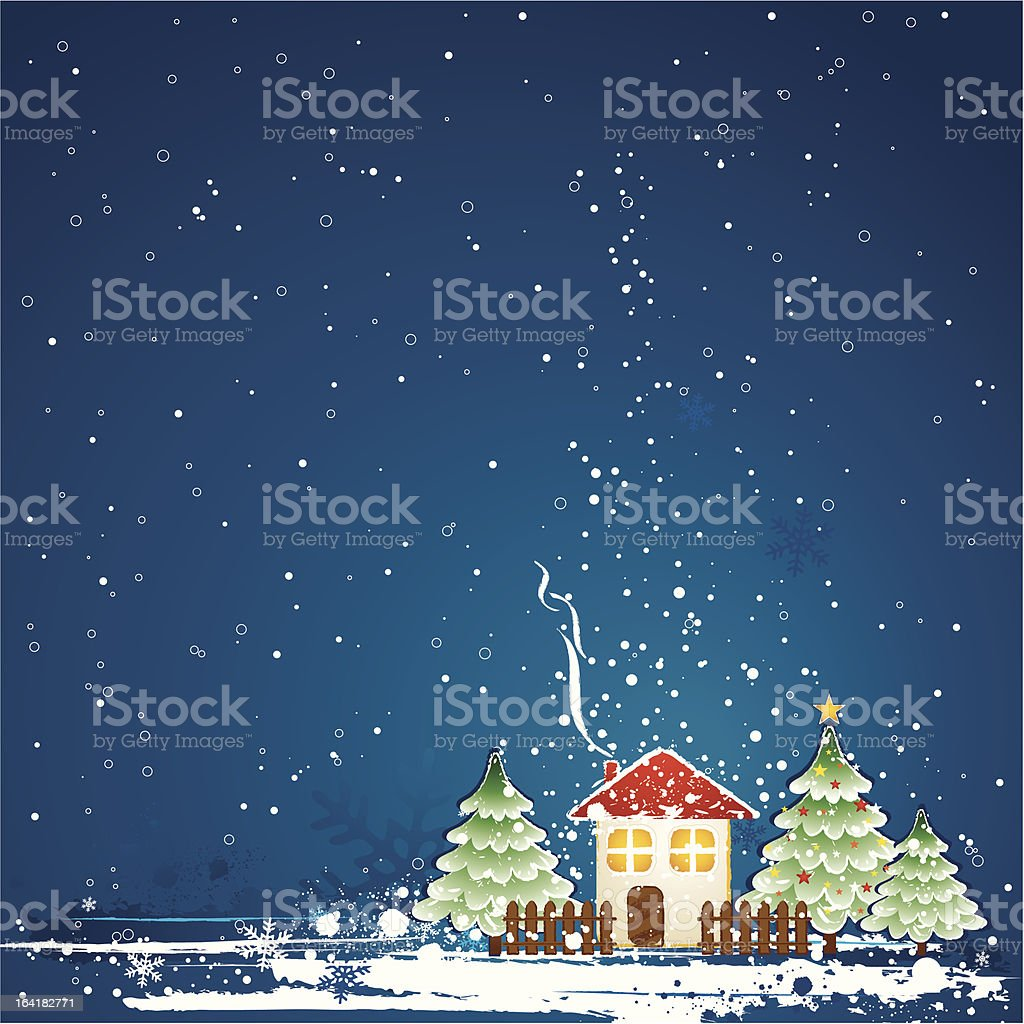 christmas card with  house royalty-free stock vector art