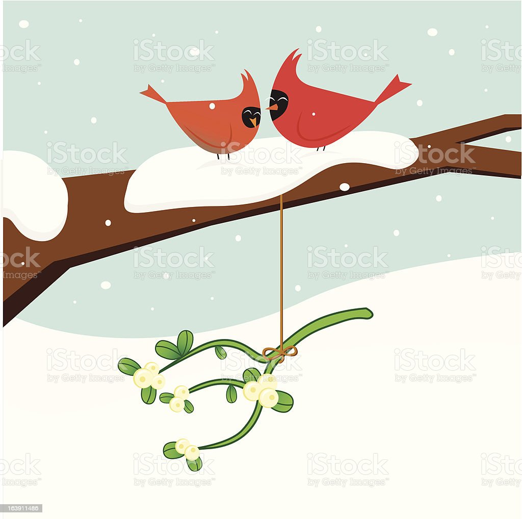 Christmas Cardinals royalty-free stock vector art