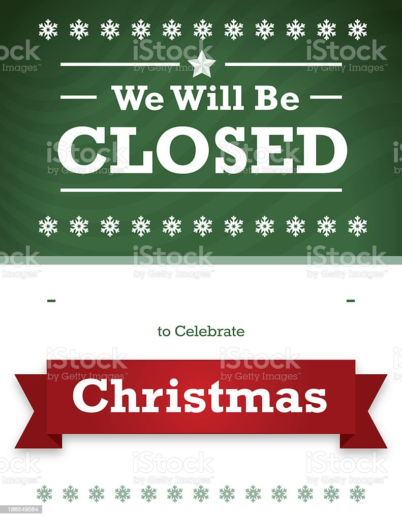 Christmas Closed Sign for Business vector art illustration