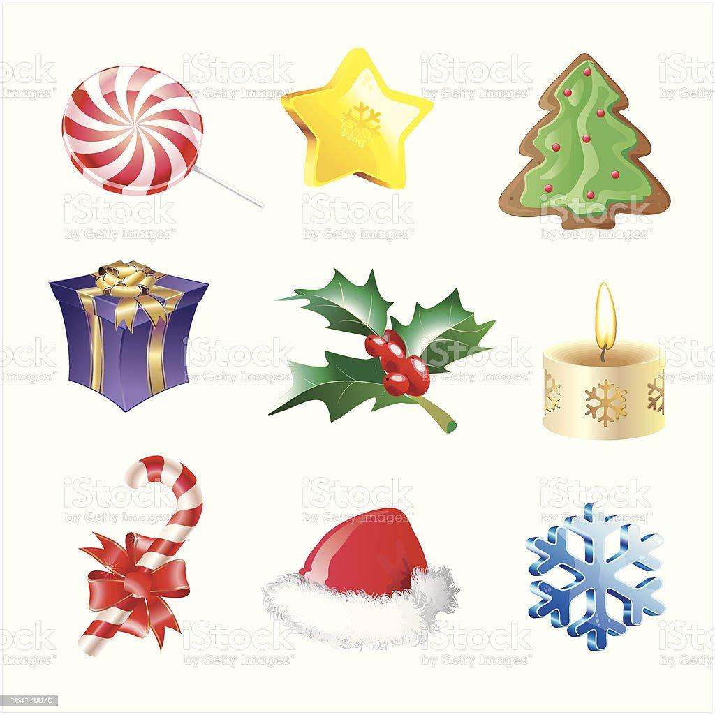 christmas decorative icons royalty-free stock vector art