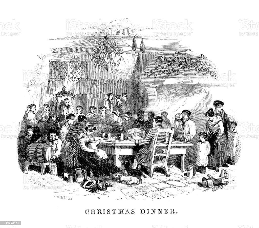 Christmas Dinner vector art illustration