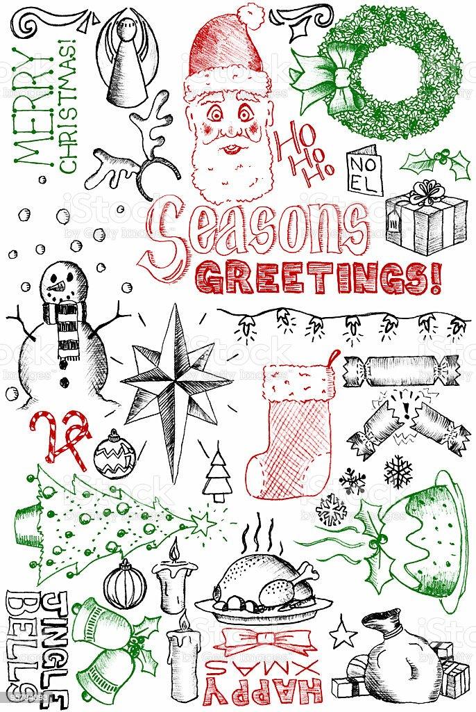 Christmas doodles vector art illustration
