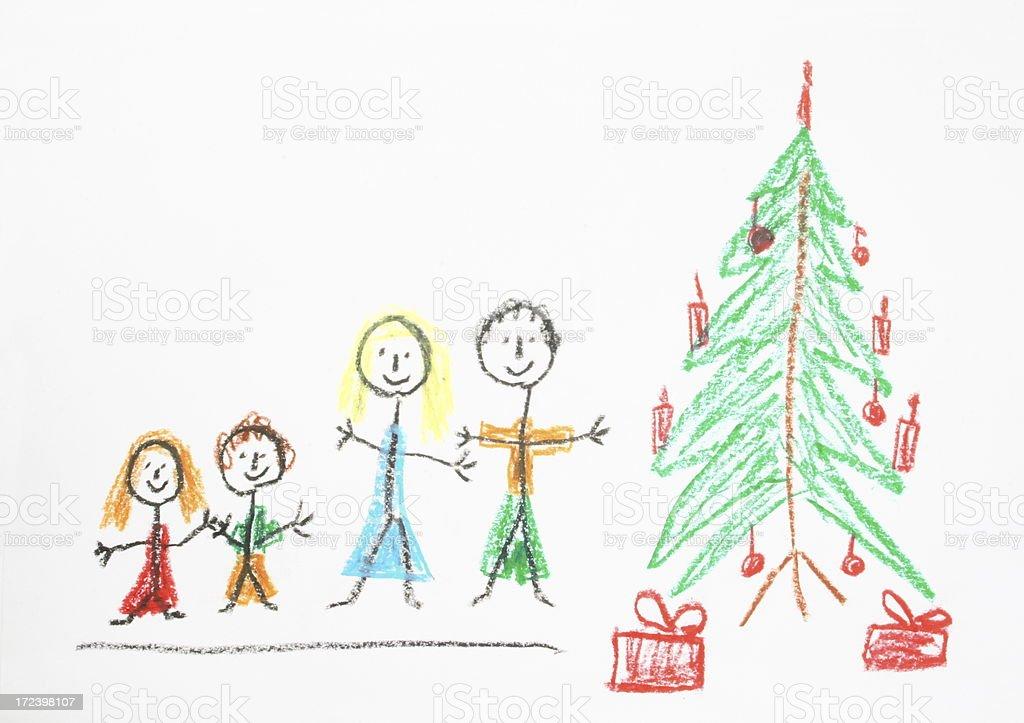 Christmas Drawing vector art illustration