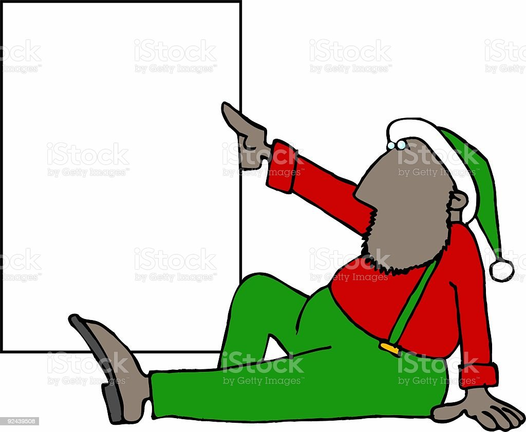 Christmas Elf holding a blank sign vector art illustration