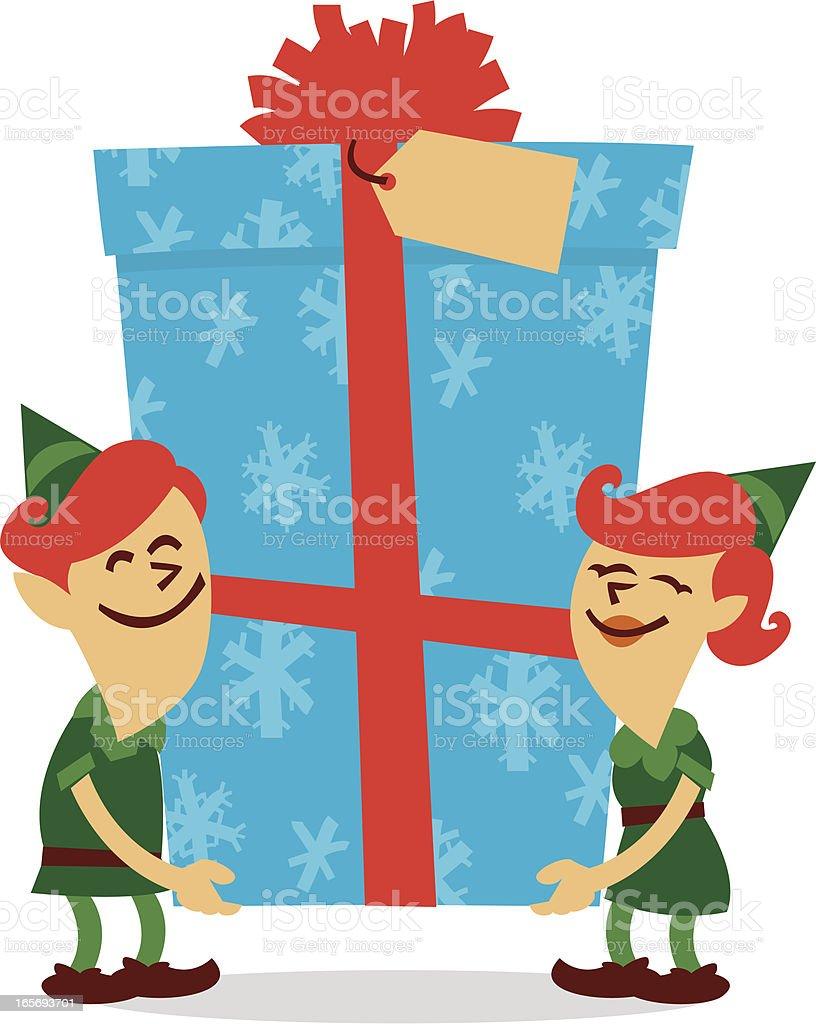 christmas elves vector art illustration