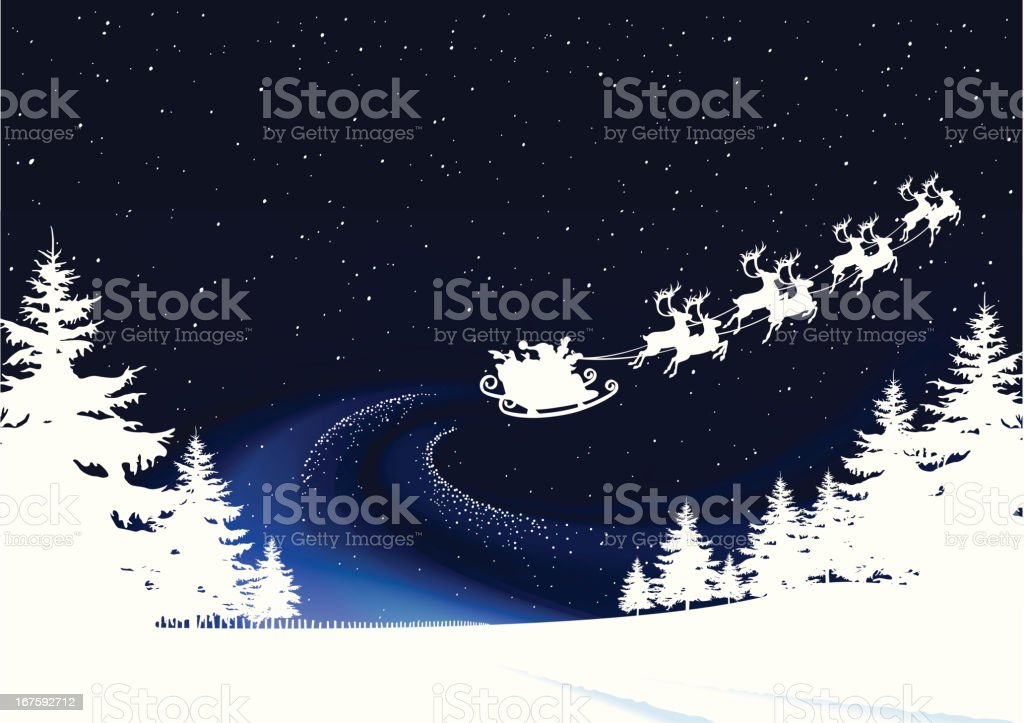 Christmas Eve, Santa takes off on his rounds vector art illustration
