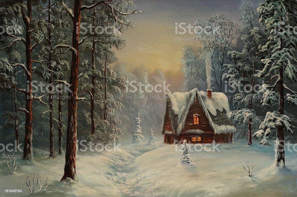 Christmas evening vector art illustration